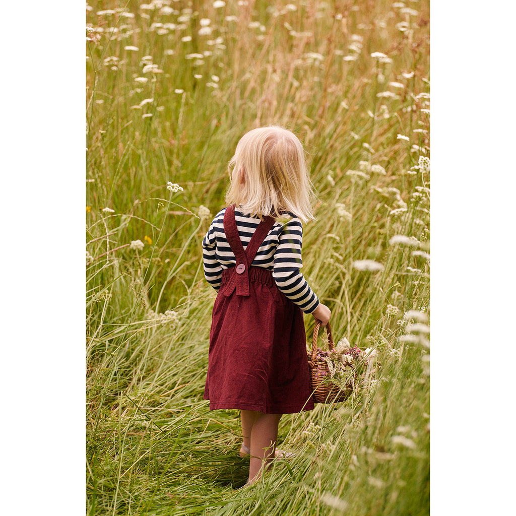 PINAFORE CORD DRESS ELDERBERRY