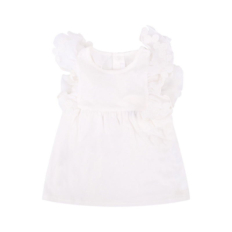 IVORY COTTON RUFFLE SLEEVE TOP