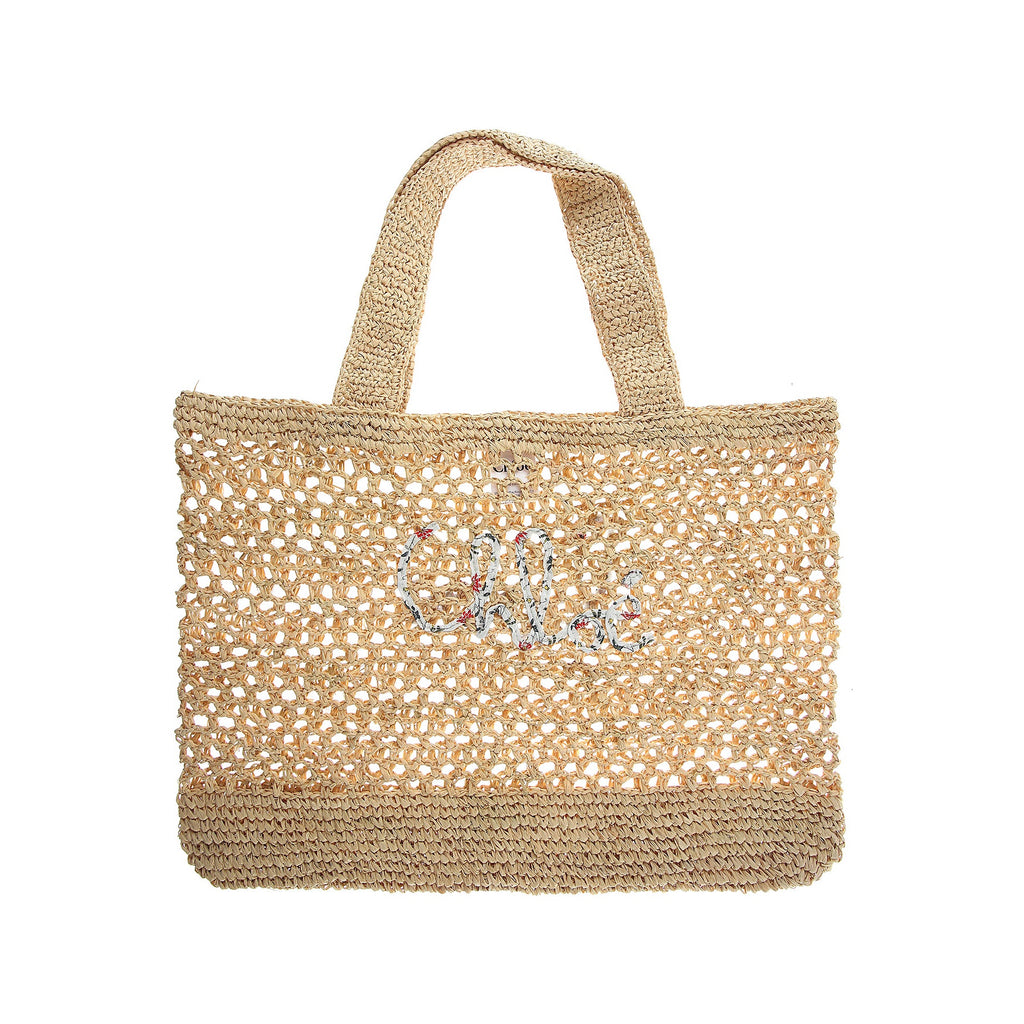 LOGO EMBROIDERED WOVEN BEACH TOTE