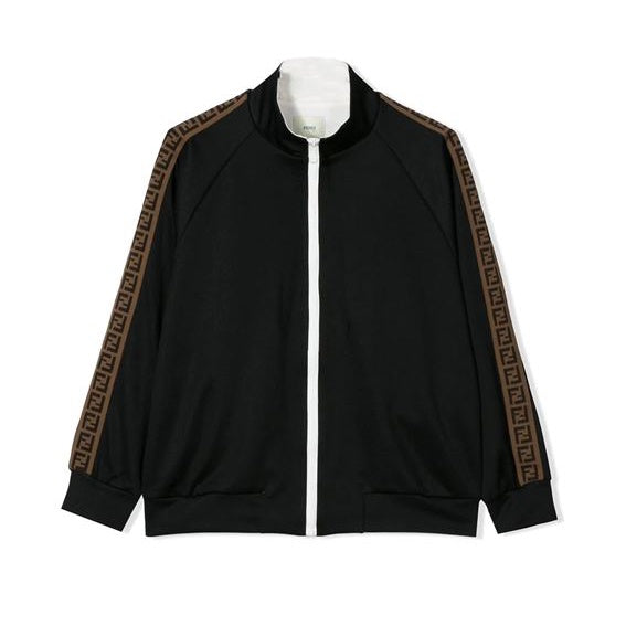 Fendi Logo Stripe Varsity Jacket in Black