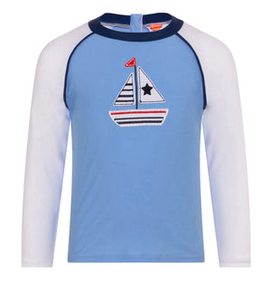 BABY BOYS BLUE LITTLE BOATS LONG SLEEVE RASH VEST