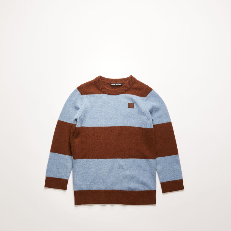 Mini block stripe sweater dark brown/mineral blue