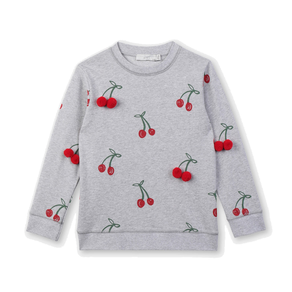CHERRY SWEAT W/ REASL POMPOM