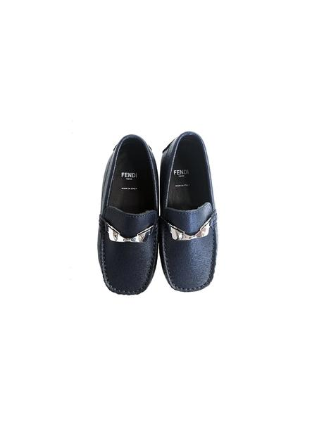 BLUE LEATHER MONSTER EYE SLIP ON SHOES