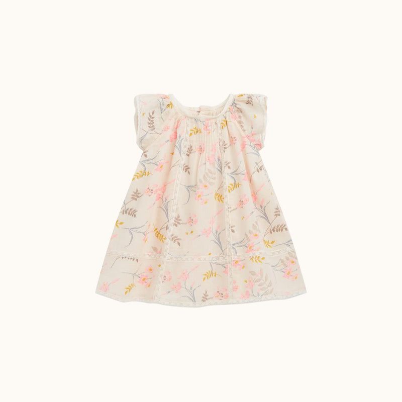 LILLY DRESS WITH LACE DETAILS NATURAL FLORAL