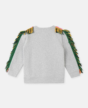Sweater with Print and Fringes