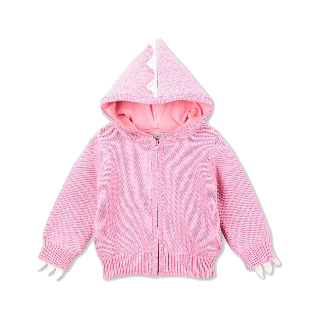 Pink knit dragon spike-trim cardigan