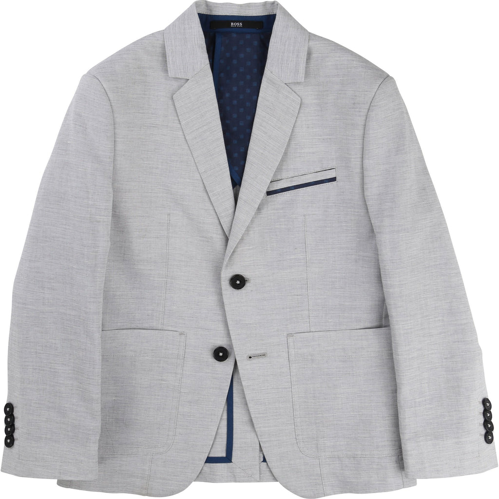 Kids Grey Cotton Suit Jacket