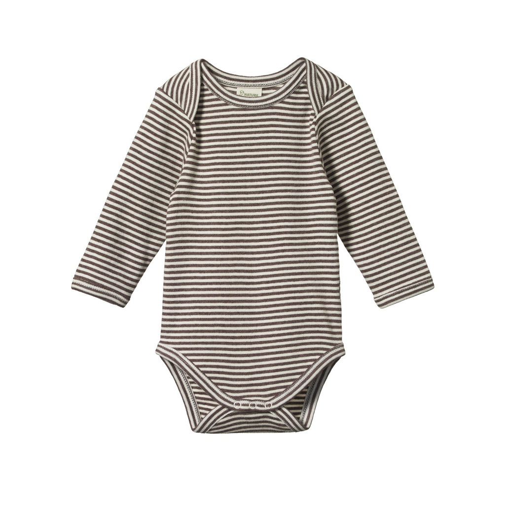 LONG SLEEVE BODYSUIT TRUFFLE MARL STRIPE