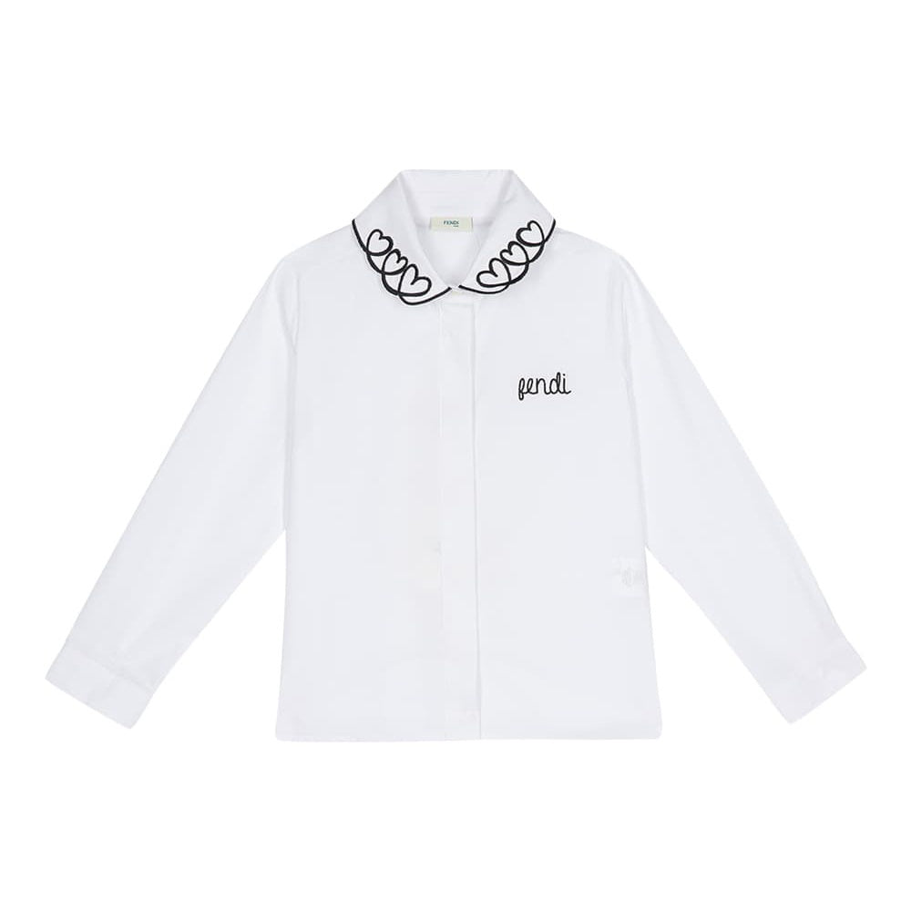 HEART EMBROIDERED COLLAR SHIRT