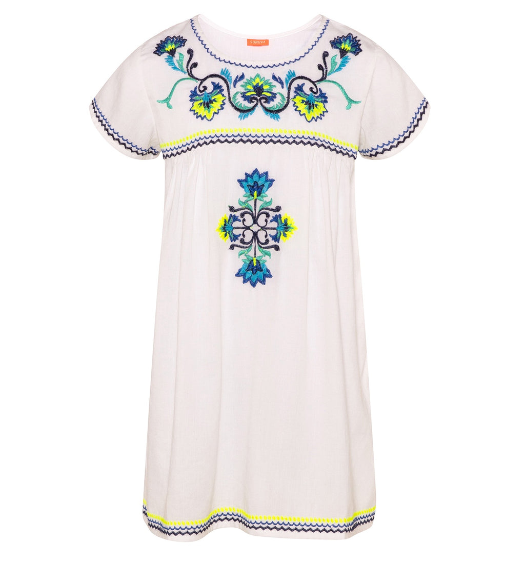 GIRLS WHITE PERUVIAN STITCH PERUVIAN DRESS