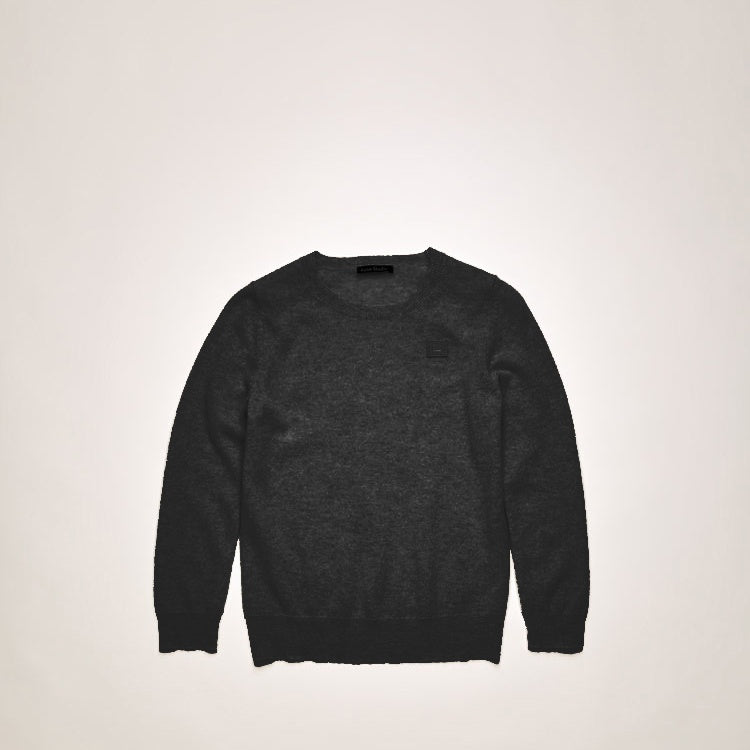 Mini face patch sweater black
