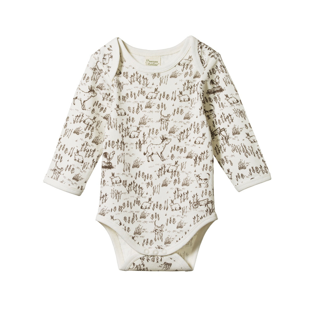 LONG SLEEVE BODYSUIT BARNYARD PRINT