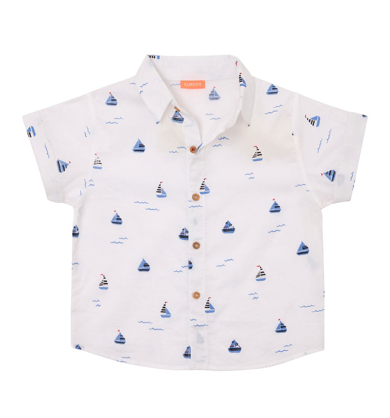 BABY BOYS WHITE LITTLE BOATS SHORT SLEEVE SHIRT
