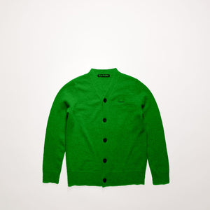 Mini face patch cardigan deep green