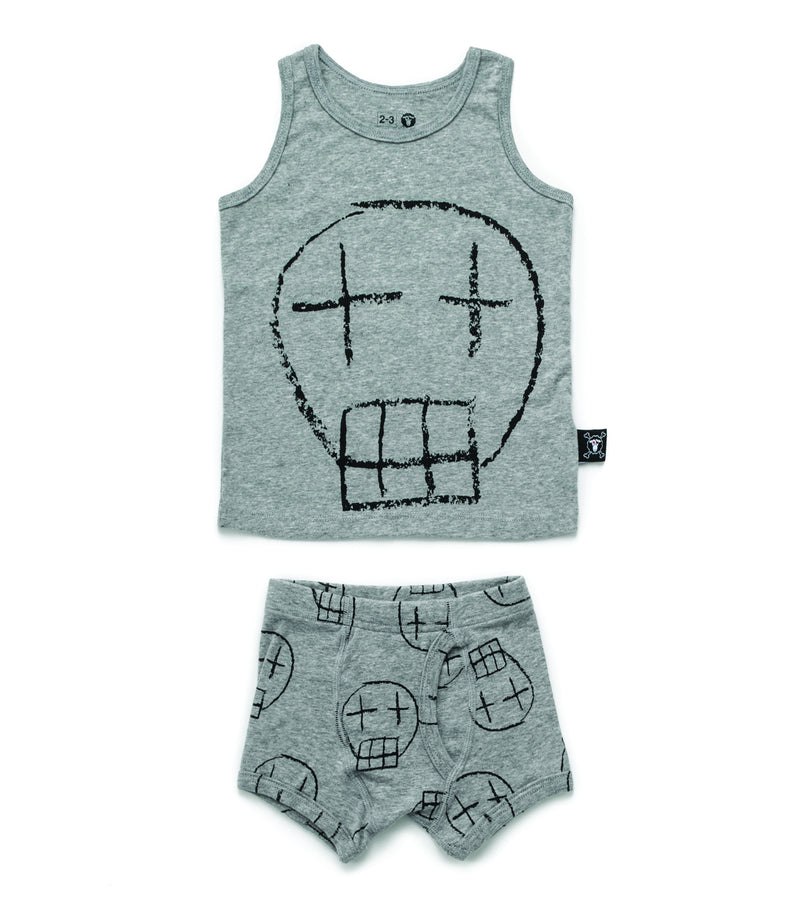 BOYS SKETCH SKULL UNDERWEAR SET HEATHER GREY