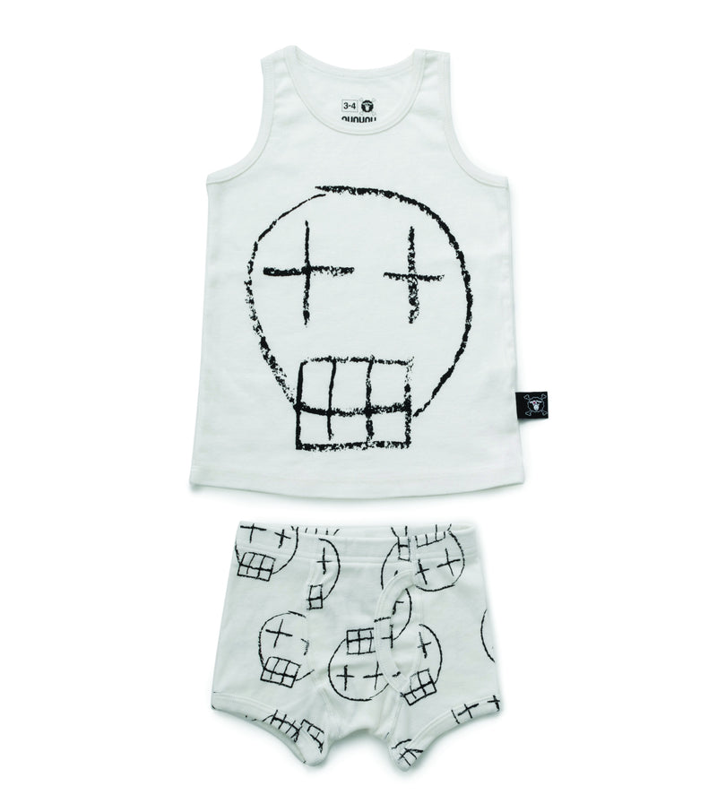 BOYS SKETCH SKULL UNDERWEAR SET WHITE