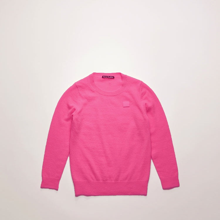 Mini face patch sweater bubblegum pink