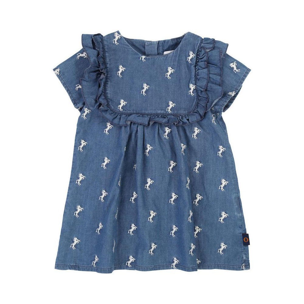 DENIM BLUE HORSE PRINT DRESS