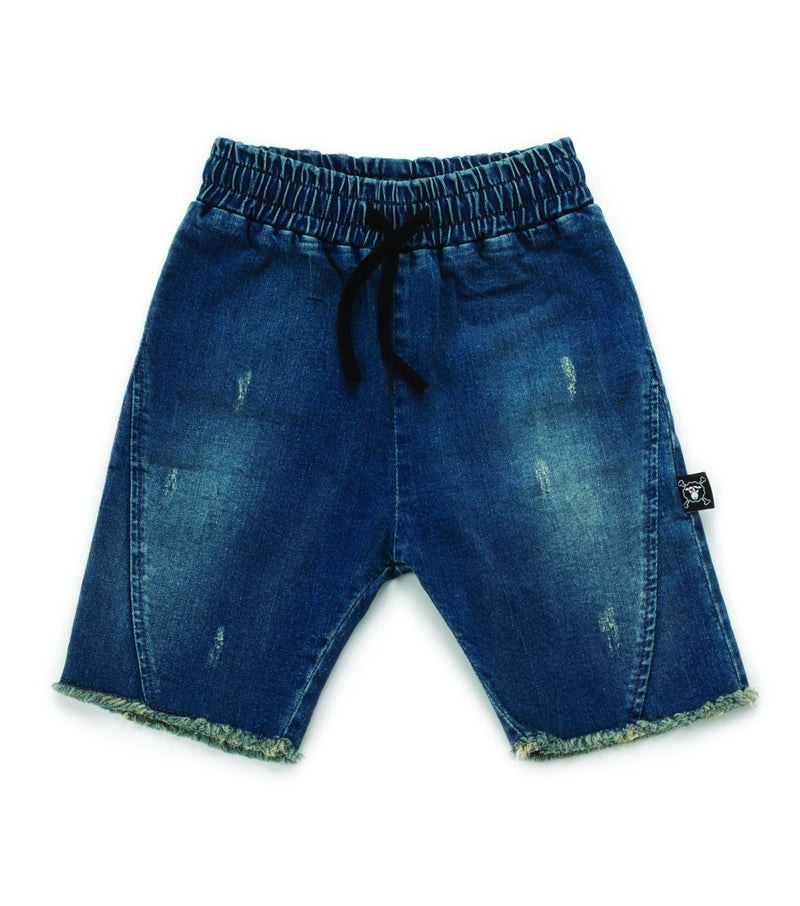 SIDE HEM DENIM SHORTS