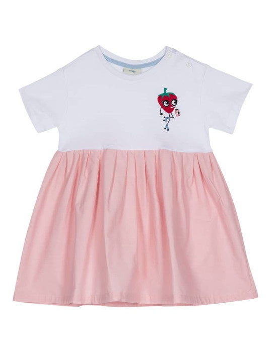 WHITE & PINK COTTON STRAWBERRY DRESS