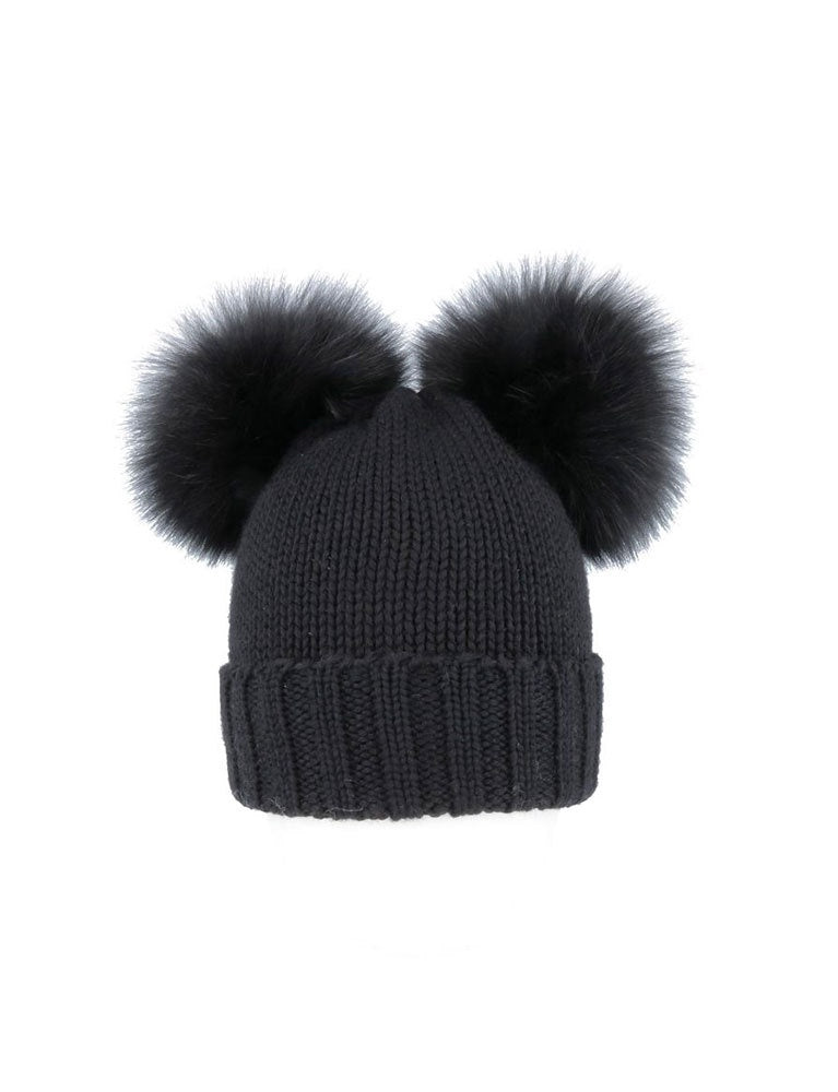 regina 2 merlo cuffia coste-hat in black