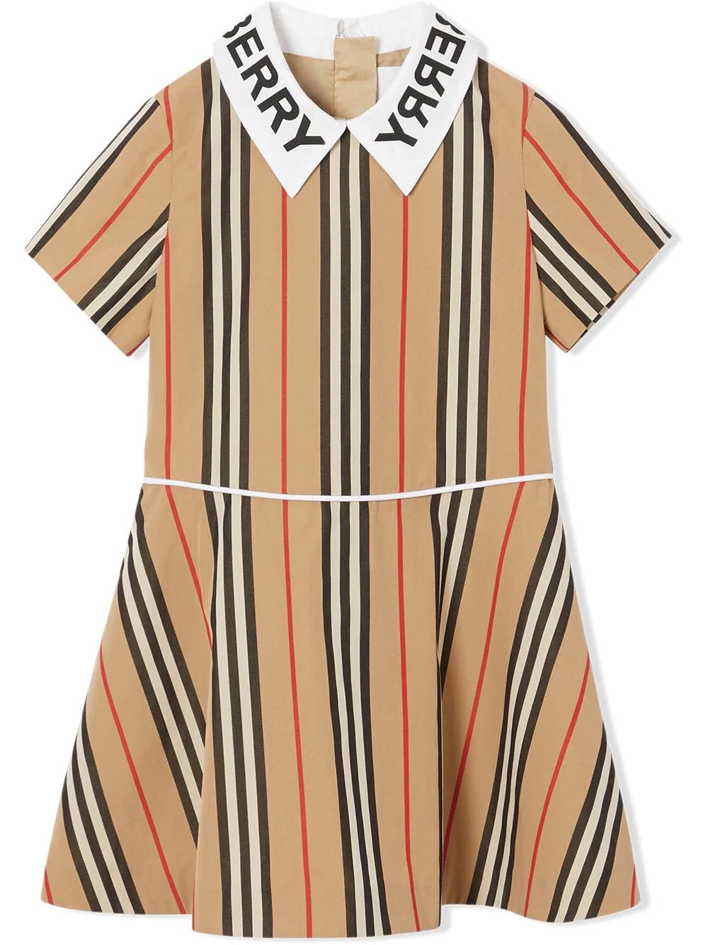 Burberry Kids logo print icon stripe cotton poplin dress