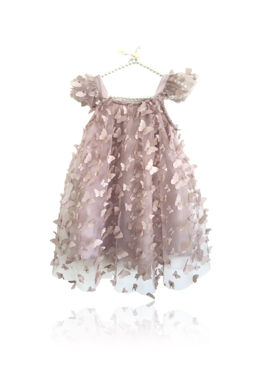 DOLLY BY LE PETIT TOM ® ALLOVER BUTTERFLIES TUTU DRESS MAUVE PINK