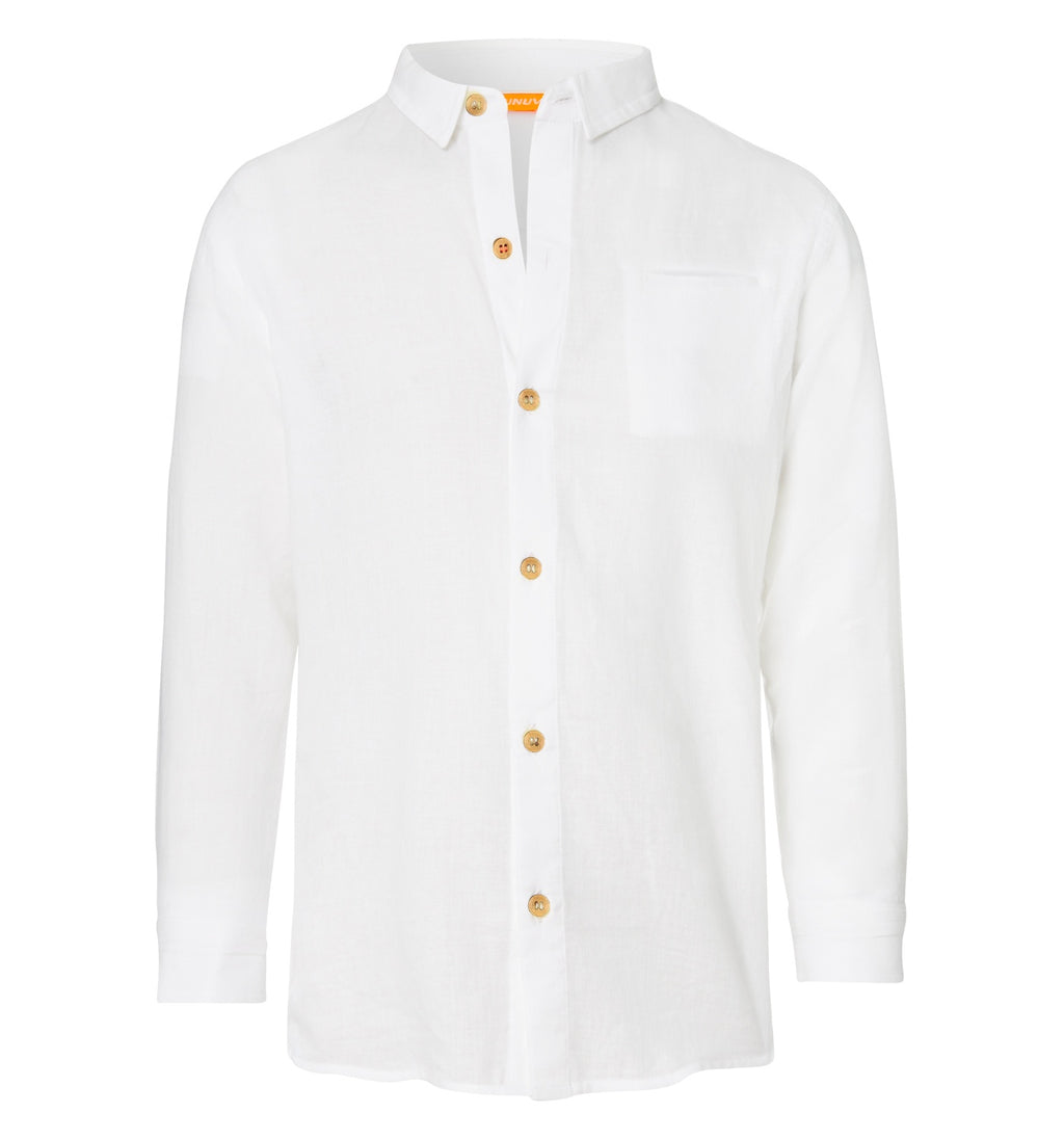 BOYS WHITE LONG SLEEVE COTTON SHIRT