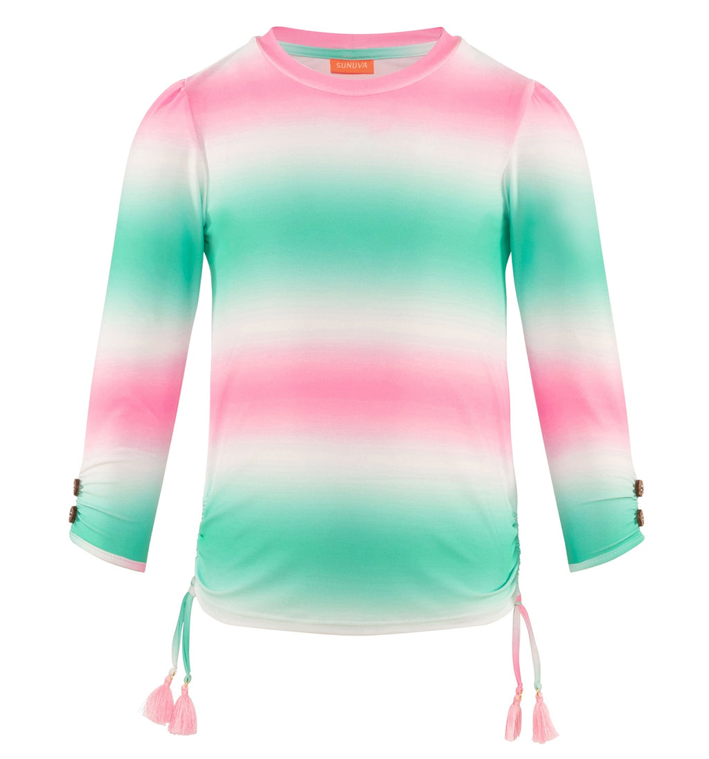 GIRLS PINK MINT TIE DYE RASH VEST