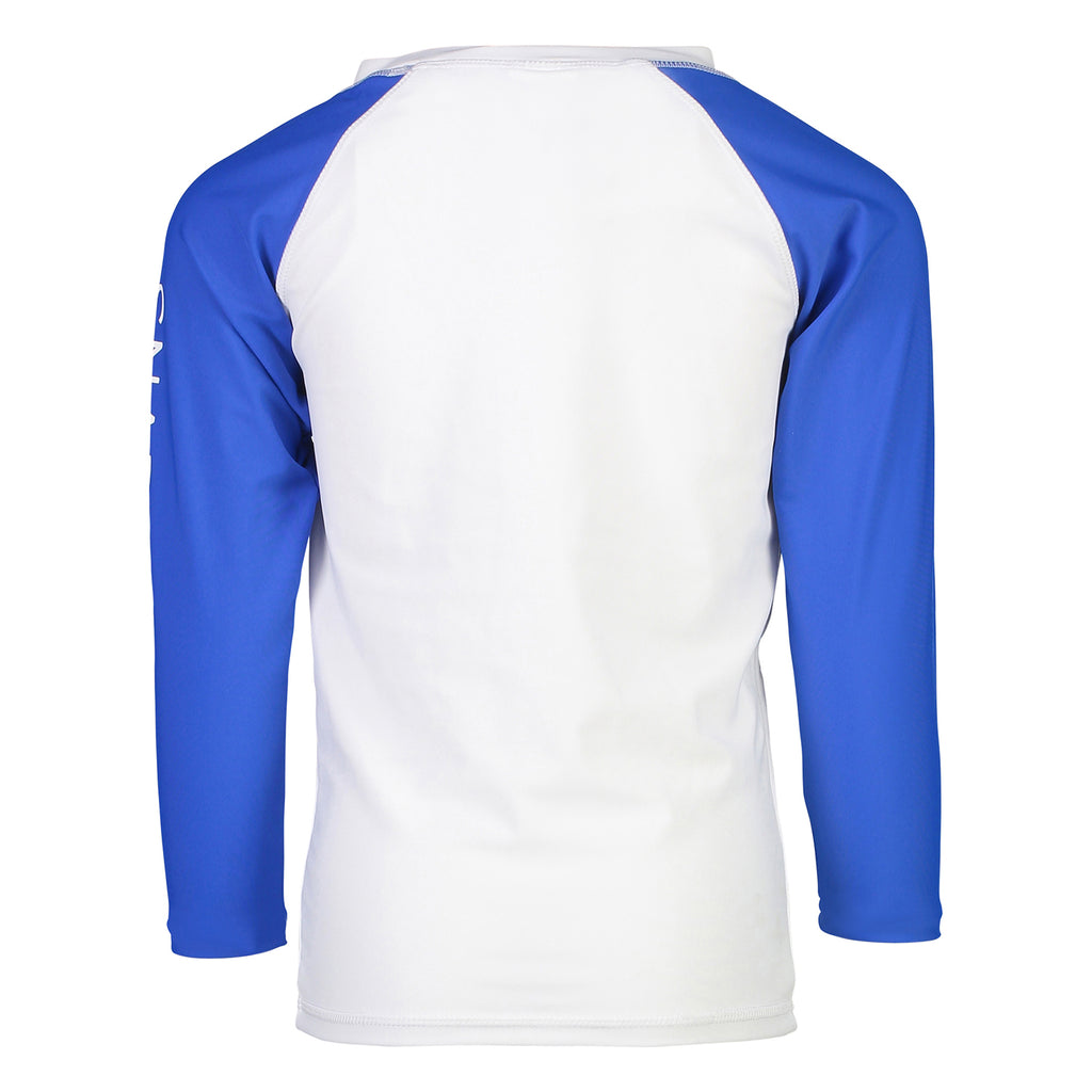 White Blue Sleeve LS Rash Top