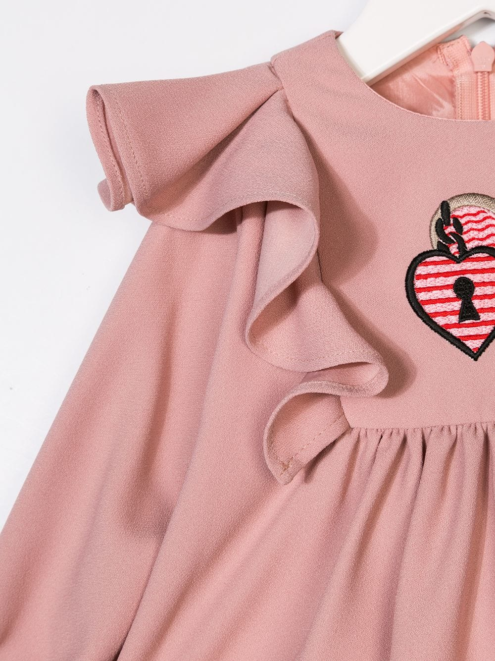 PINK RUFFLE SLEEVES LOCK LOGO DRESS