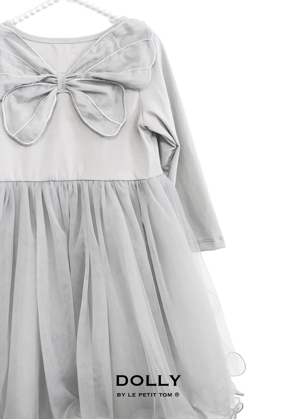 DOLLY by Le Petit Tom BUTTERFLY WINGS TUTU DRESS silver grey