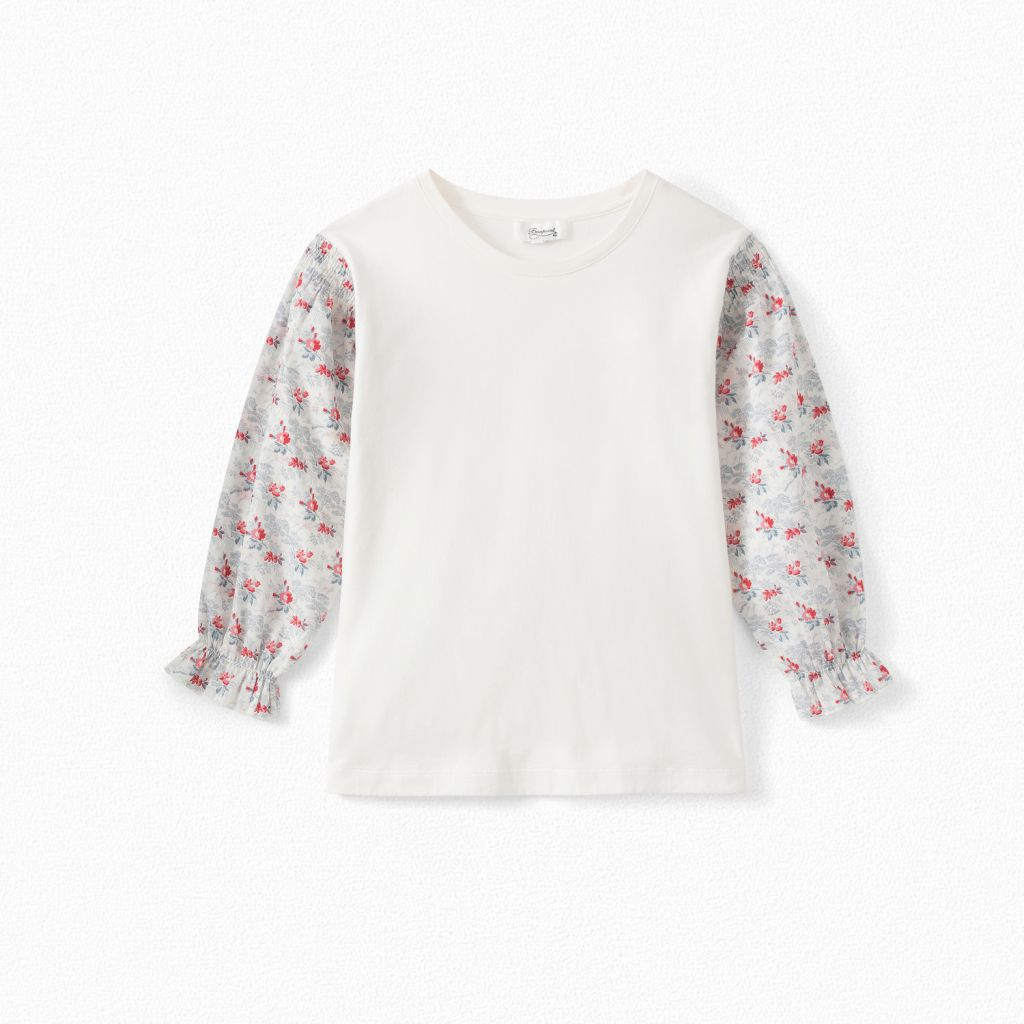 GIRLS' DUAL-MATERIAL T-SHIRT WITH SMOCKED SLEEVES MILK WHITE