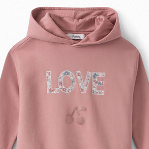 GIRLS' HOODED SWEATSHIRT BLUSH PINK