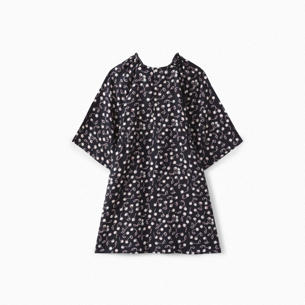 GIRLS' CHERRY PRINT TWILL DRESS NAVY