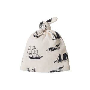 COTTON KNOTTED BEANIE VOYAGE PRINT