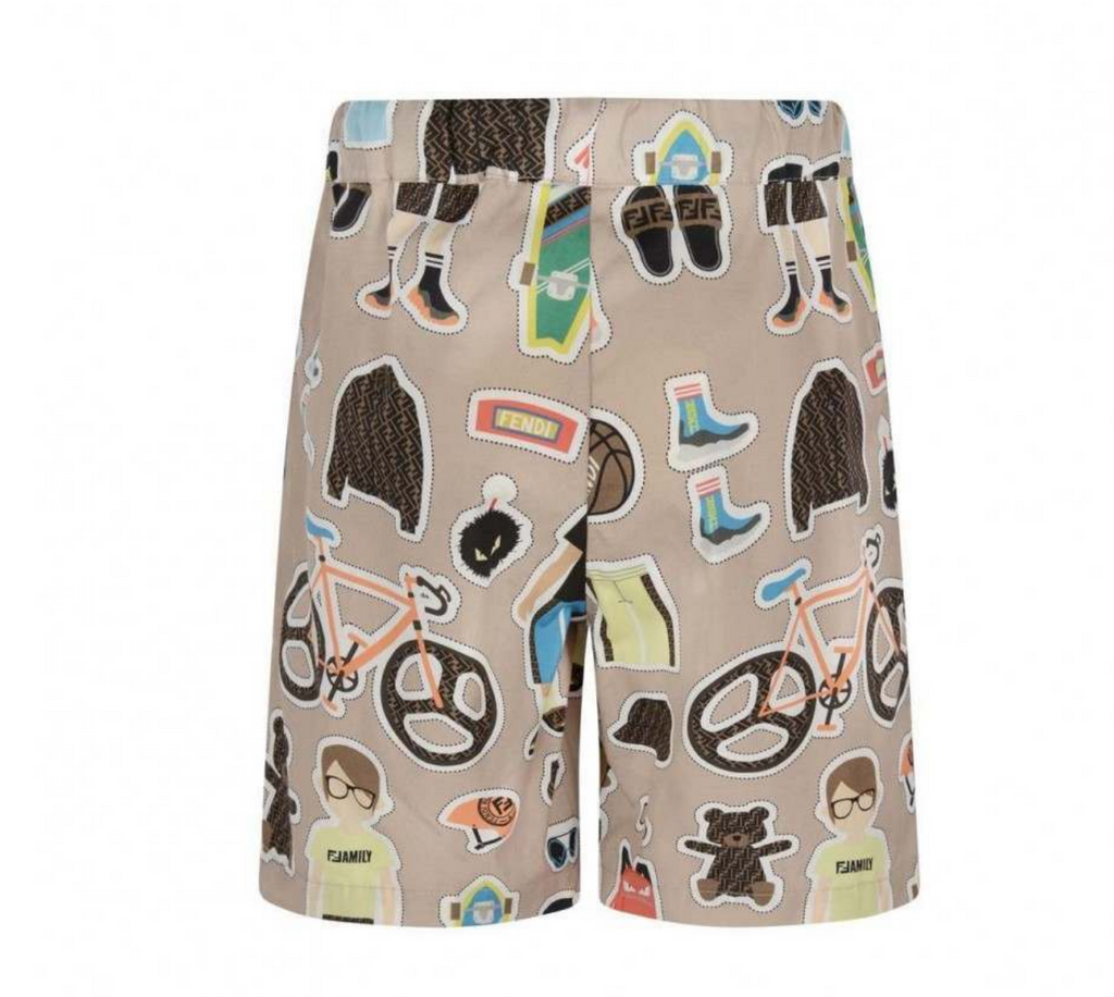 FENDI BOYS BEIGE COTTON SHORTS