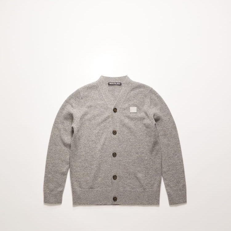 Mini face patch cardigan grey melange