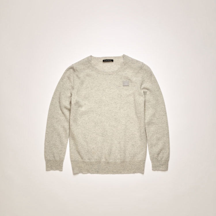 Face-patch Sweater Light Grey Melange