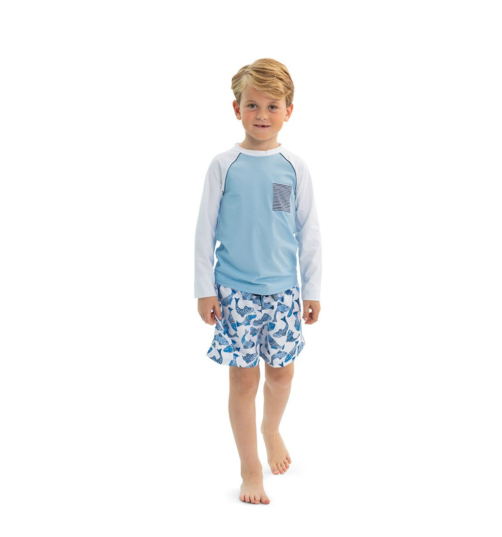BOYS WHITE BATIK FISH SWIM SHORTS