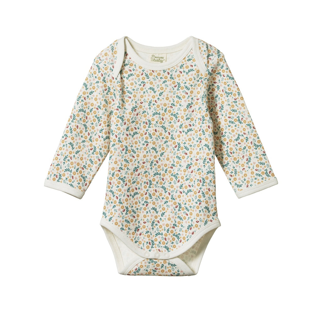 LONG SLEEVE BODYSUIT JUNE'S GARDEN PRINT