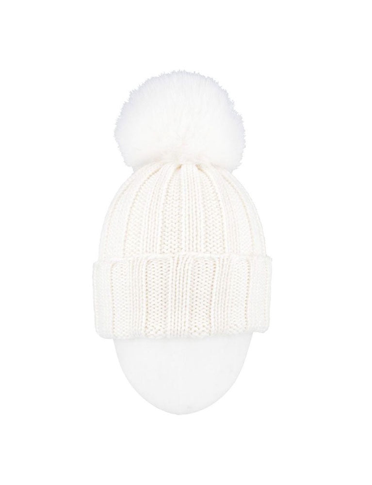 regina airone fox cuffia coste-hat in white
