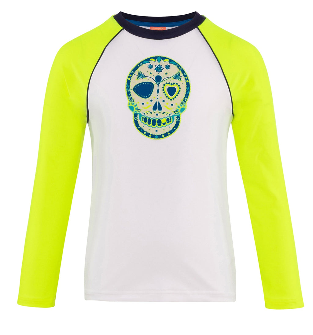 BOYS WHITE MEXICAN SKULLS LONG SLEEVE RASH VEST