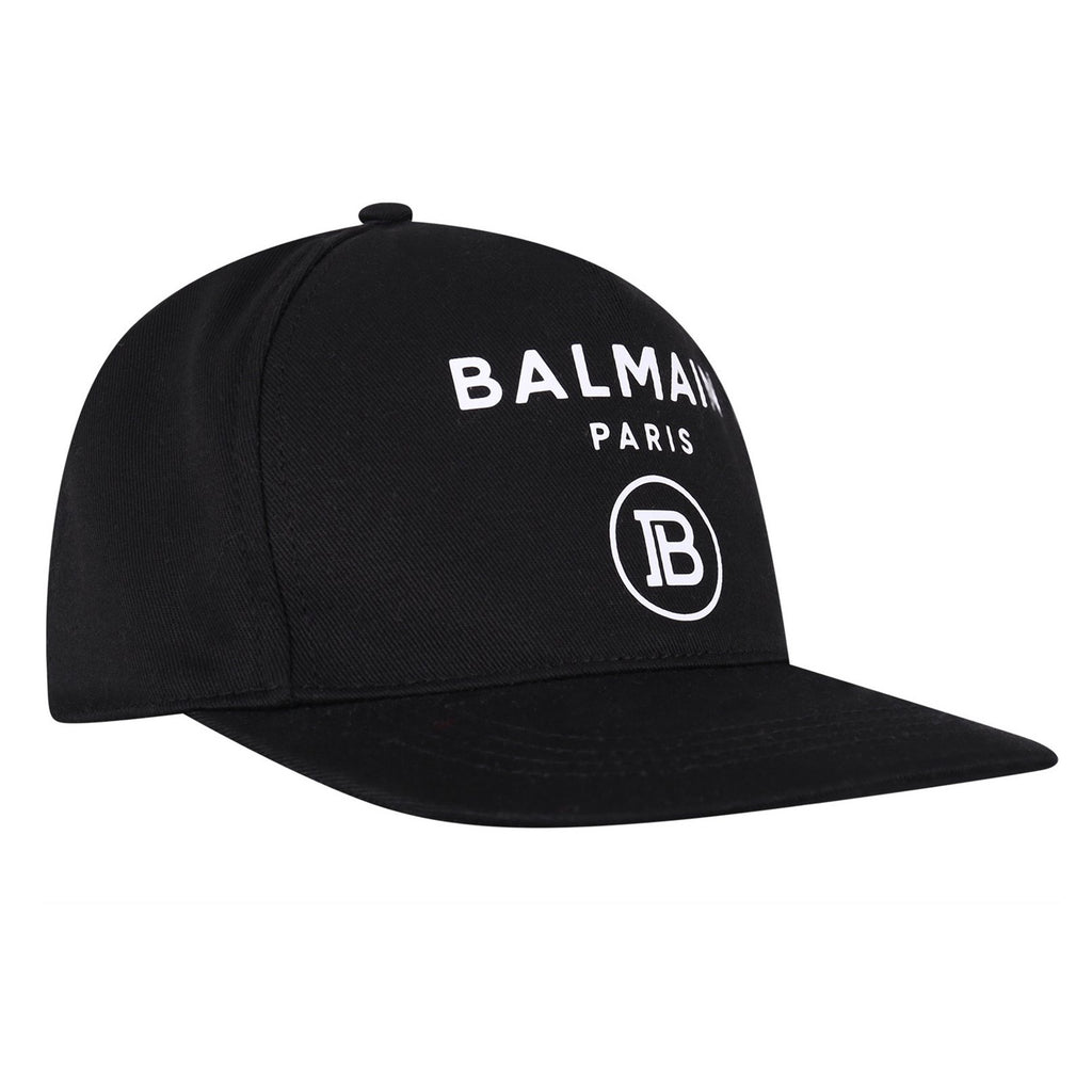 BALMAIN LOGO PRINT CANVAS BASEBALL CAP BLACK