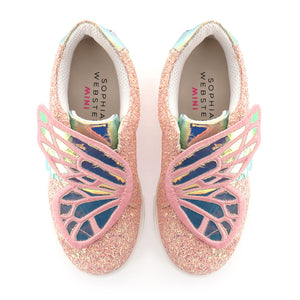 Butterfly Low Top Pink Glitter & Pearl