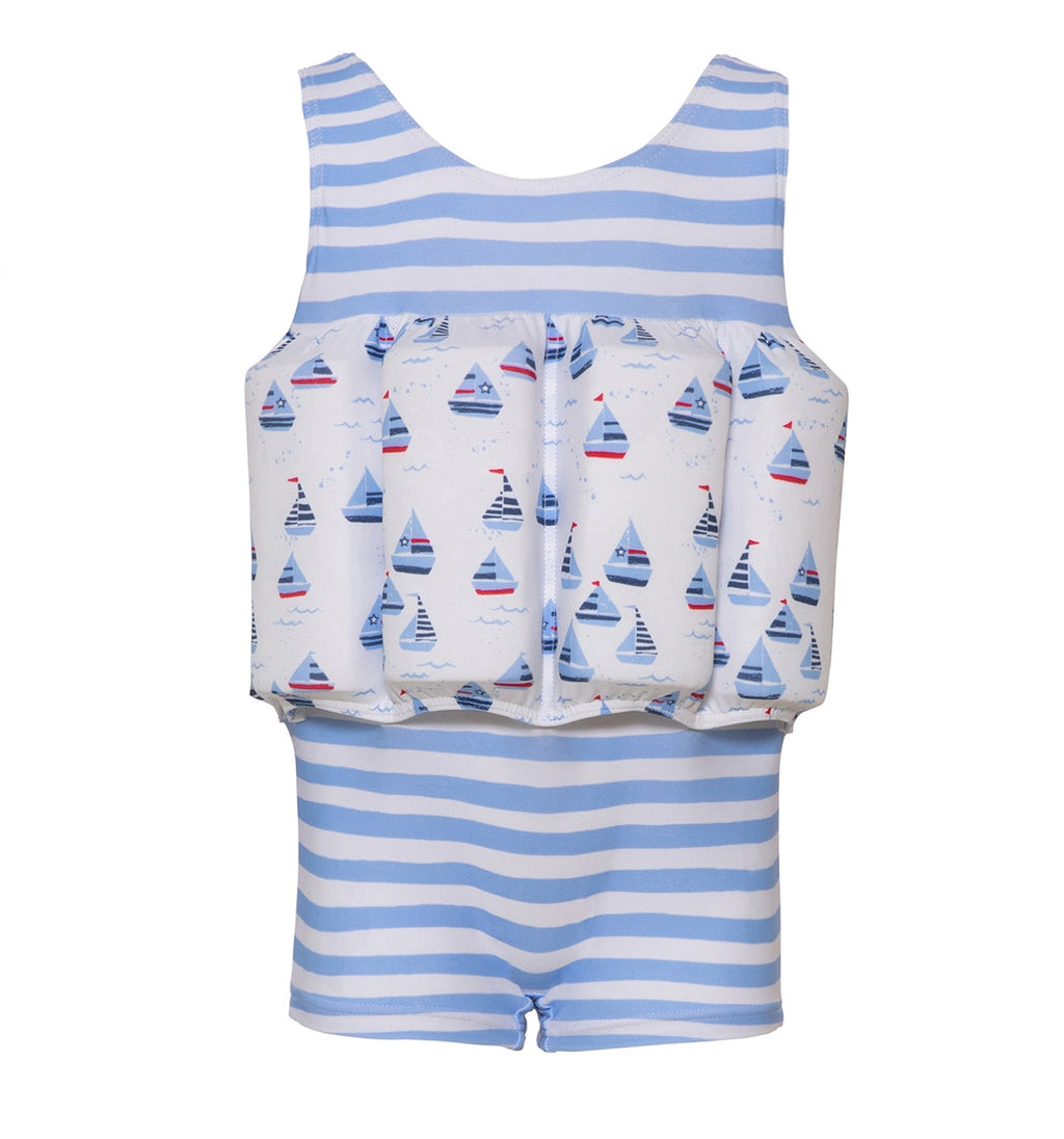 BOYS BLUE LITTLE BOATS FLOAT SUIT