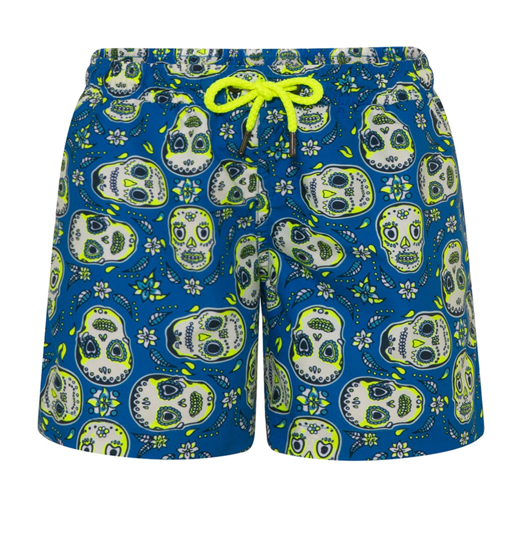 BOYS BLUE MEXICAN SKULLS SWIM SHORTS