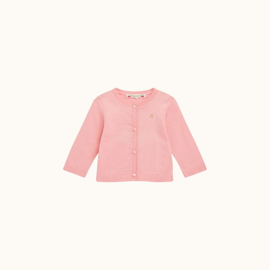 EMBROIDERED COTTON CARDIGAN BUBBLEGUM PINK