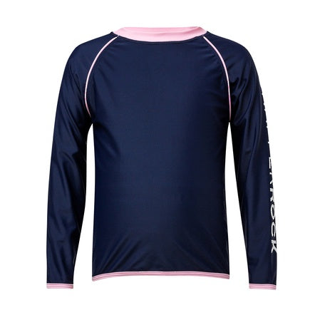 Navy / Pink binding LS Rash Top